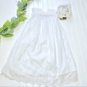 BABY BISCOTTI Lace Gown & Bonnet NWT